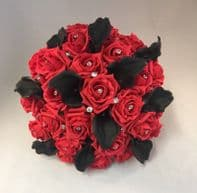 ARTIFICIAL FLOWERS RED BLACK FOAM ROSE CALLA LILY BRIDE DIAMANTE WEDDING BOUQUET