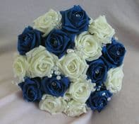 ARTIFICIAL FLOWERS ROYAL BLUE IVORY FOAM ROSE BRIDESMAID CRYSTAL WEDDING BOUQUET