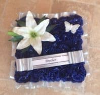 ARTIFICIAL FLOWERS SILK CUSHION WREATH BLUE LILY MEMORIAL GRAVE FUNERAL PEARLS