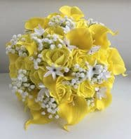 ARTIFICIAL FLOWERS YELLOW WHITE FOAM ROSE CALLA LILY WEDDING BRIDESMAID BOUQUET