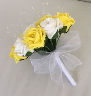 ARTIFICIAL FLOWERS YELLOW WHITE FOAM ROSE WEDDING BRIDESMAID CRYSTAL BOUQUET