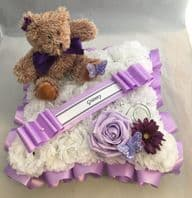 ARTIFICIAL FUNERAL FLOWERS CUSHION WREATH MEMORIAL GRAVE BABY LILAC TEDDY PURPLE