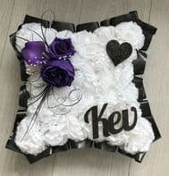 ARTIFICIAL FUNERAL FLOWERS SILK WREATH MEMORIAL GRAVE BLACK PURPLE ANY NAME