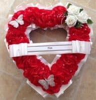 ARTIFICIAL FUNERAL FLOWERS SILK WREATH MEMORIAL GRAVE RED WHITE OPEN HEART ROSE