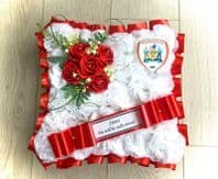 ARTIFICIAL FUNERAL FOOTBALL  FLOWERS WREATH GRAVE Barnsley FC Cushion Red White