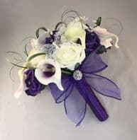 ARTIFICIAL IVORY PURPLE CALLA LILY ROSE WEDDING BRIDE BROOCH BOUQUET FLOWERS
