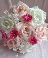 ARTIFICIAL PINK/HOT PINK/IVORY FOAM ROSE DAISY FLOWER GIRL WEDDING BOUQUET WAND