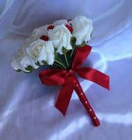 ARTIFICIAL RED IVORY FOAM ROSE BUDS WEDDING FLOWERS BRIDESMAID BOUQUET POSIE