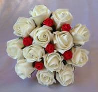 ARTIFICIAL RED IVORY FOAM ROSE BUDS WEDDING FLOWERS FLOWER GIRL BOUQUET DIAMANTE