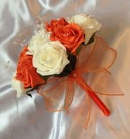 ARTIFICIAL WEDDING FLOWERS IVORY ORANGE FOAM ROSE WEDDING BOUQUET BRIDESMAID