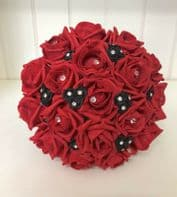 ARTIFICIAL WEDDING FLOWERS RED BLACK FOAM ROSE WEDDING BRIDESMAID  BOUQUET POSIE