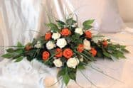 ARTIFICIAL WEDDING FLOWERS TOP TABLE ARRANGEMENT  SPRAY IVORY FOAM ROSES