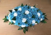 ARTIFICIAL WEDDING FLOWERS TOP TABLE ARRANGEMENT SPRAY TURQUOISE ALL FOAM ROSES