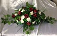 ARTIFICIAL WEDDING FLOWERS TOP TABLE DECORATION SPRAY IVORY/BURGUNDY FOAM ROSES