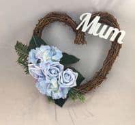 BLUE GRAVE MEMORIAL FUNERAL TWIG HEART WREATH ARTIFICIAL FLOWERS MUM ANY NAME