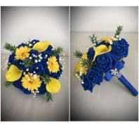 BOUQUET WEDDING MIXED FLOWER BLUE YELLOW BRIDESMAID VINTAGE COUNTRY GERBERA LILY