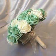 BRIDES WEDDING ARTIFICIAL BOUQUET MINT GREEN IVORY ROSE CRYSTAL FLOWERS BROOCH