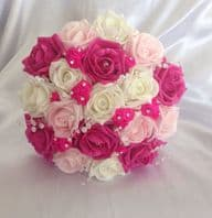 BRIDESMAID WEDDING ARTIFICIAL BOUQUET HOT PINK IVORY FOAM ROSE WEDDING FLOWERS
