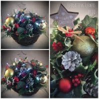 Christmas Garden Hanging Basket Artificial Greenery Baubles Fur Cones Lights