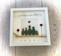 Family pebble art box frame gift wall art home decor Grandparents Parents Gift
