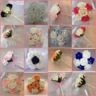 FLOWER GIRL WEDDING BOUQUET ARTIFICIAL BRIDESMAID ROSE CRYSTAL MANY COLOURS!!!!
