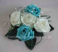 FLOWERS TURQUOISE/WHITE WEDDING CAKE TOPPER/TABLE DEC/FISH BOWL CENTREPIECE