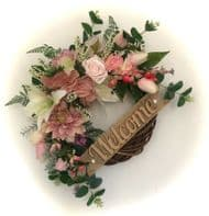 FRONT DOOR TWIG RING WREATH ARTIFICIAL FLOWERS EUCALYPTUS PINK DECOR ANY WORD