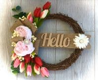 FRONT DOOR TWIG RING WREATH FLOWERS BROOCHES TULIPS PEONIES RED PINK WALL DECOR