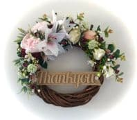 FRONT DOOR TWIG RING WREATH FLOWERS PEONIES EUCALYPTUS PINK WALL DECOR ANY WORD