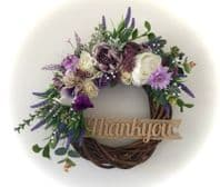 FRONT DOOR TWIG RING WREATH FLOWERS PEONY LAVENDER PURPLE WALL DECOR ANY WORD