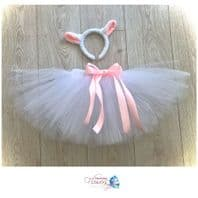 Lamb sheep white tutu costume tulle skirt ears set girls animal dress up cake smash fancy dress