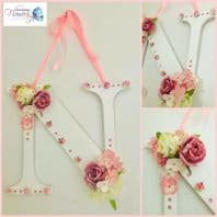 LARGE Flower Letter Nursery Wall Decor Door Sign Baby Gift Girls Bedroom Pink
