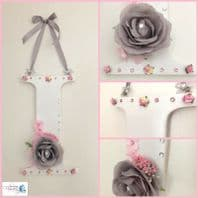 LARGE Flower Letter Nursery Wall Door Sign Baby Gift Girl Bedroom Pink Grey