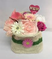 Mothers Day Gift Artificial Flower Handbag Basket Keepsake Birthday Present Pink