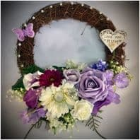 MOTHERS DAY VINTAGE TWIG WREATH GRAVE MEMORIAL FLOWERS BROOCHES PEARLS LILAC