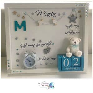 New Baby Unique Personalised Gift Box Frame Photo Frame No Glass Blue Boy Keepsake Gift