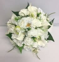 PEONIES VINTAGE BOUQUET BRIDE BROOCH WEDDING FLOWERS WHITE MIXED FLOWER GREENERY