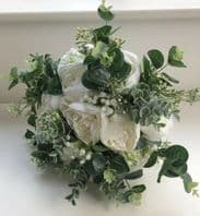 PEONY BOUQUET BRIDE BROOCH WEDDING FLOWERS WHITE GREENERY EUCALYPTUS MODERN