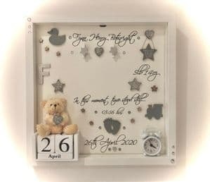 Personalised Gift Box Frame No Glass Photo Frame Girl Boy Grey New Baby Keepsake
