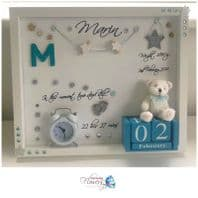 Personalised Gift Deep Box Frame No Glass Photo Frame Blue Boy New Baby Keepsake