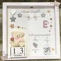 Personalised Gift Deep Box Frame No Glass Photo Frame Girl Boy New Baby Pink Teddy Keepsake