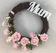PINK MEMORIAL FUNERAL CEMETERY TWIG WREATH FLOWERS ROSE PEARLS HEART ANY NAME