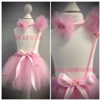 Pink rose tutu tulle skirt wand set girls dress up cake smash photos birthday