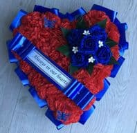 RED BLUE ROSES SILK FUNERAL FLOWERS HEART WREATH MEMORIAL GRAVE ARTIFICIAL