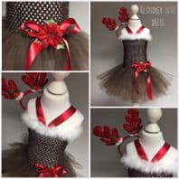Reindeer brown tutu tulle dress antler girl Christmas party dress up fancy dress