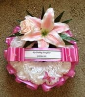 SILK FLOWER RING WREATH/ MEMORIAL/FUNERAL *NEW* PINK LILY