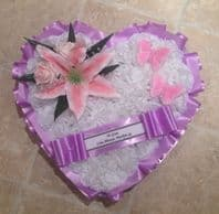 SILK FUNERAL FLOWERS - HEART WREATH/MEMORIAL/TRIBUTE Pink Lilac White