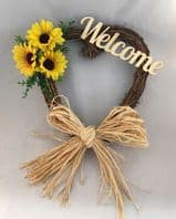 SUN FLOWERS FRONT DOOR WELCOME TWIG WREATH WALL DECOR WELCOME SIGN HEART RUSTIC GOLD