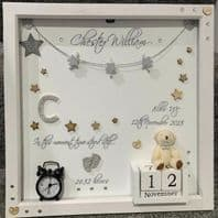Unique Personalised Gift Deep Box Frame No Glass Photo Frame Girl Boy New Baby Keepsake