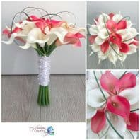 WEDDING FLOWERS ARTIFICIAL CALLA LILY BRIDE BOUQUET WHITE PINK PEARLS REAL TOUCH